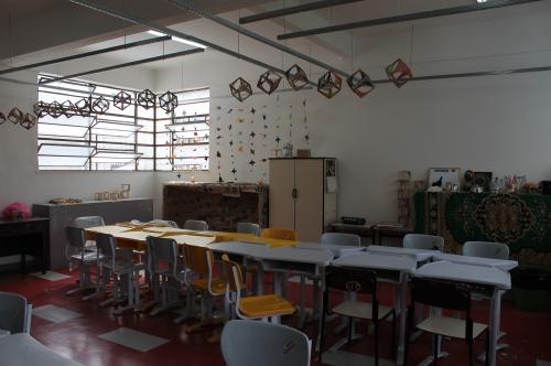 Trabalhos dos alunos no ateliê de 3D